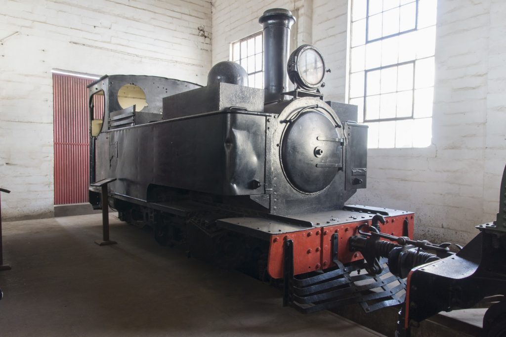 One of the Hunslet locomotives in the Sierra Leone Railway Museum. Credit William Bickers-Jones.